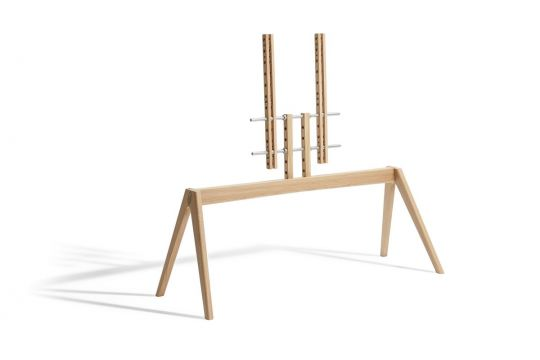 Vogel's NEXT OP2 TV Floor Stand - Suitable for 55 up to 77 inch TVs up to 50 kg - Scandinavian design from Denmark, made from Light oak - Product