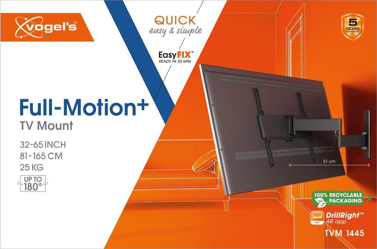 Vogel's TVM 1445 Schwenkbare TV-Wandhalterung - Geeignet für Fernseher von 32 bis 65 Zoll - Bis zu 180° schwenkbar - Bis zu 15° neigbar - Packaging front