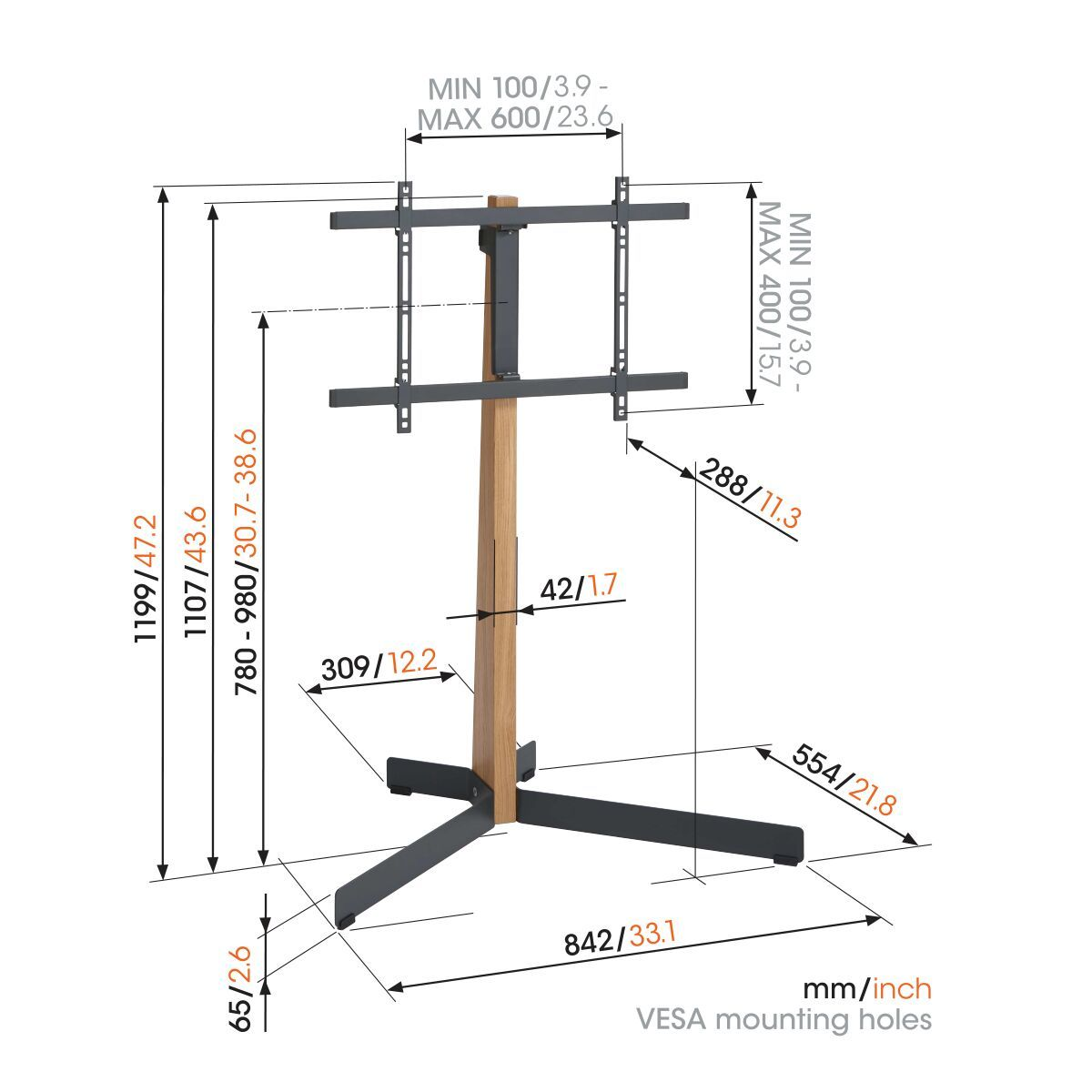 Vogel's TVS 3695 TV Floor Stand - Suitable for 50 - Suitable for Dimensions