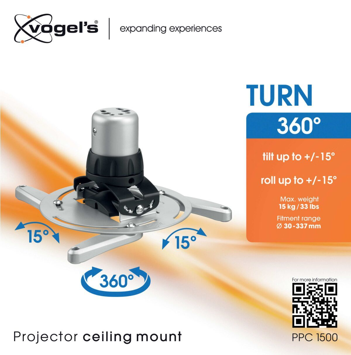 Vogel's PPC 1500 Support plafond projecteur argenté - Packaging front