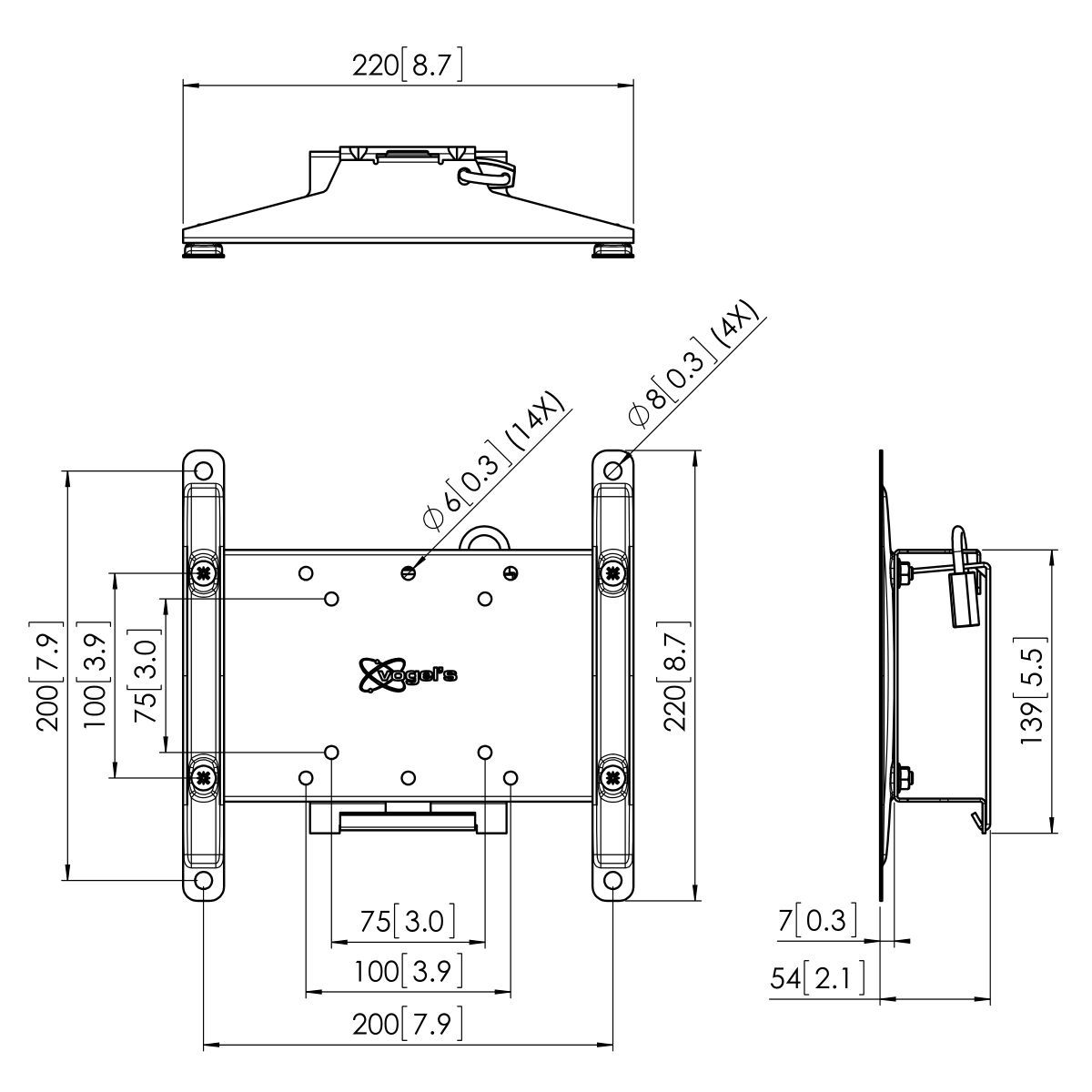 Vogel's PFW 4210 Display-Wandhalterung neigbar - Dimensions