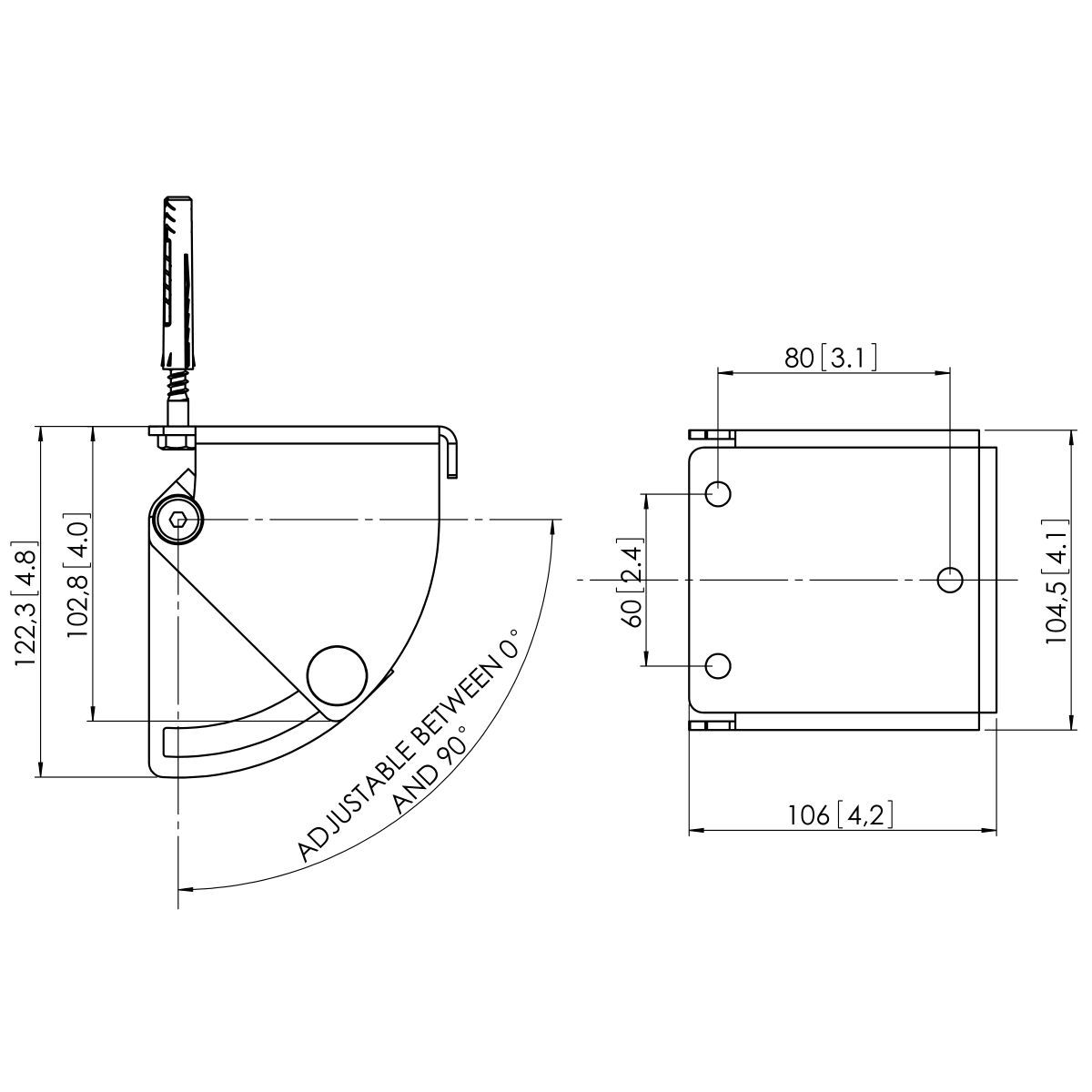 Vogel's PUC 1030 Ceiling plate turn and tilt - Dimensions