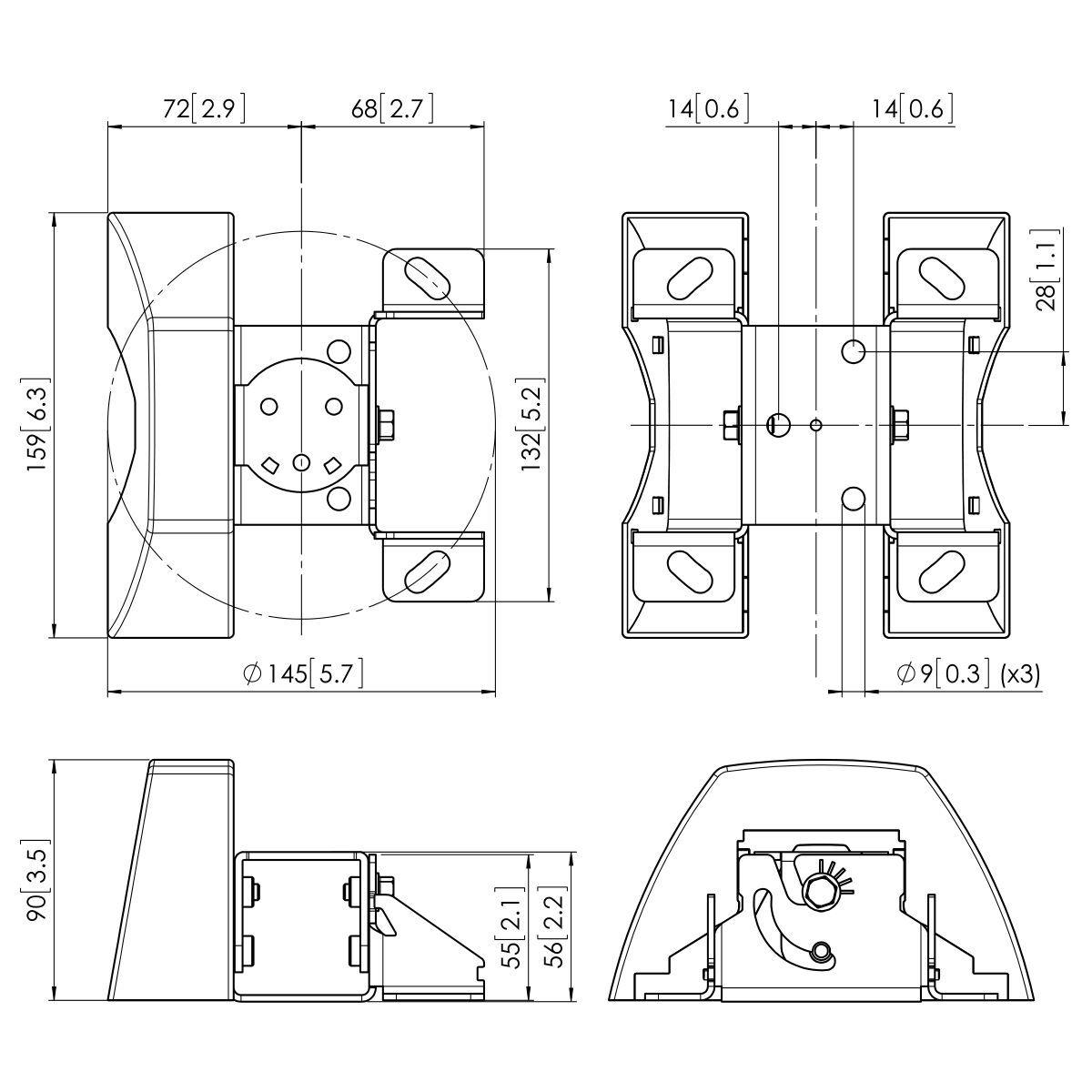 Vogel's PUC 1035 Ceiling plate tilt - Dimensions