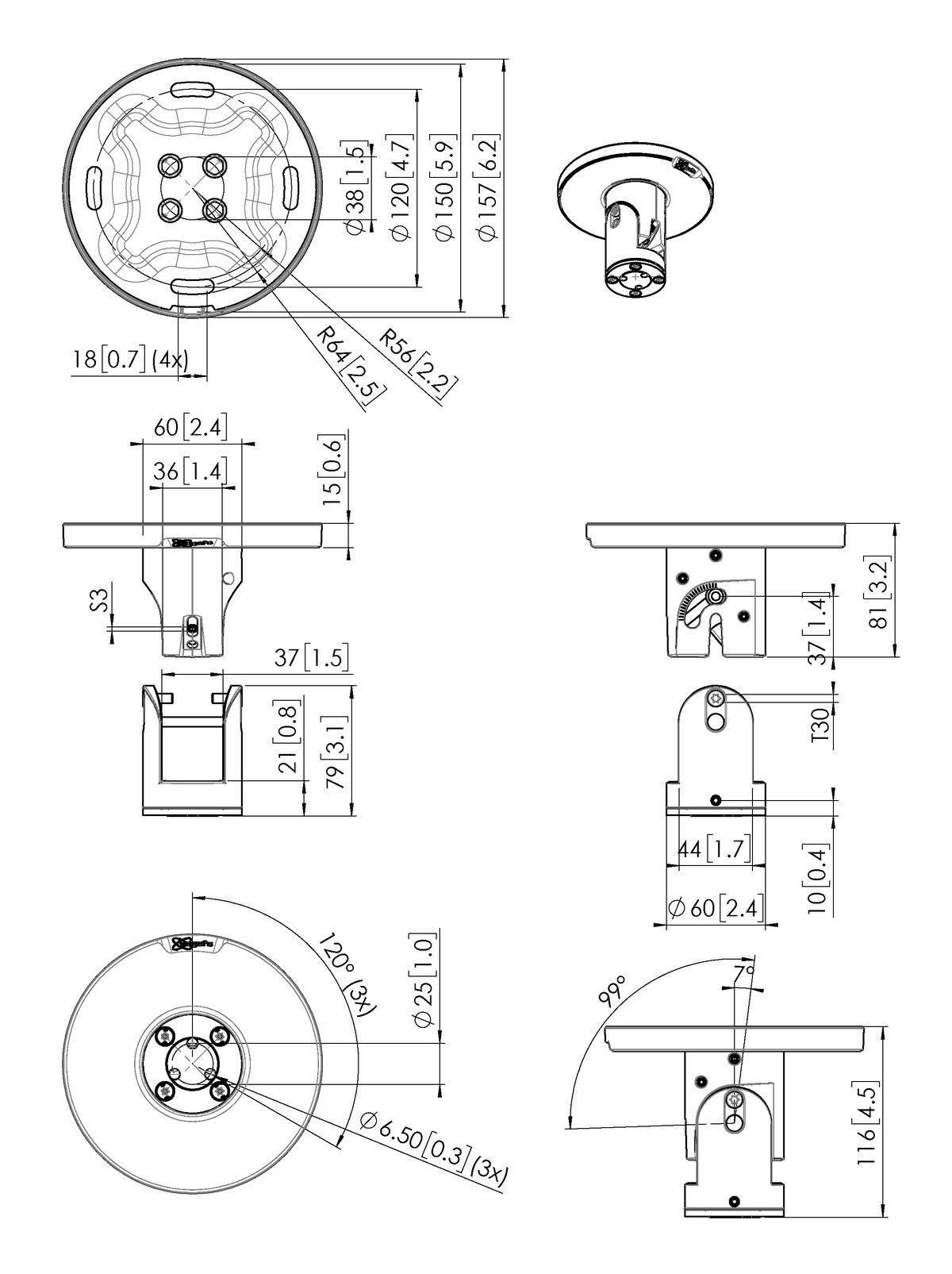 Vogel's PUC 1045 Plafondplaat kantelbaar/draaibaar - Dimensions