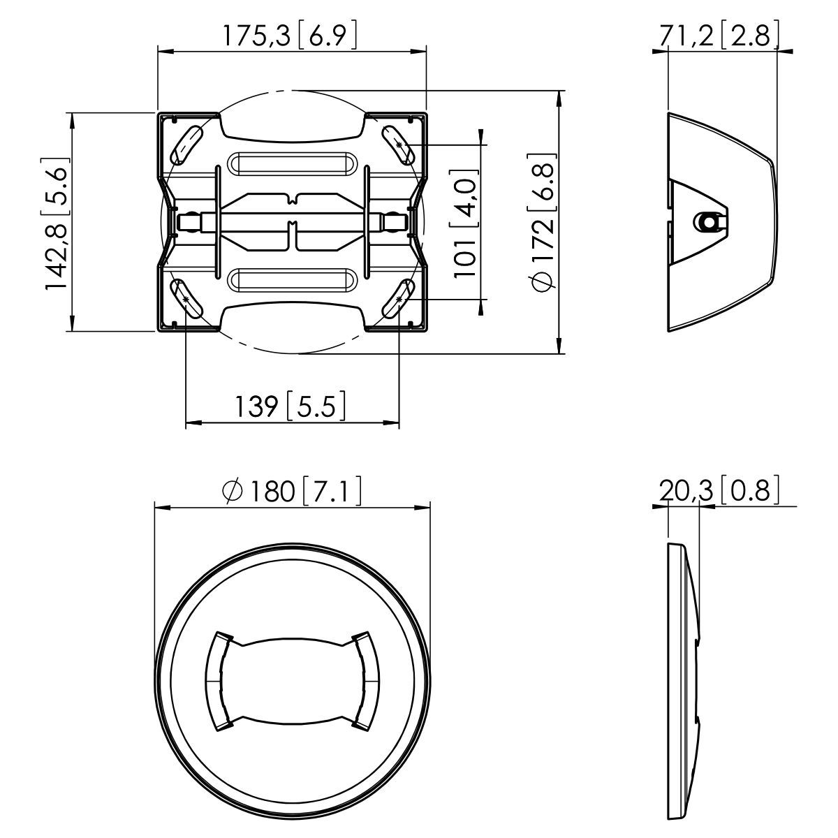 Vogel's PUC 1060 Ceiling plate fixed - Dimensions