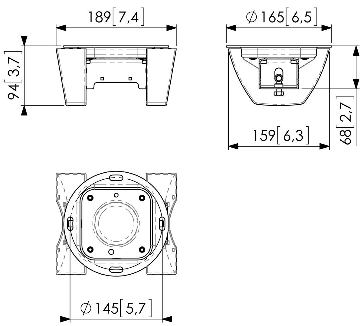 Vogel's PUC 1065 Ceiling plate turn - Dimensions