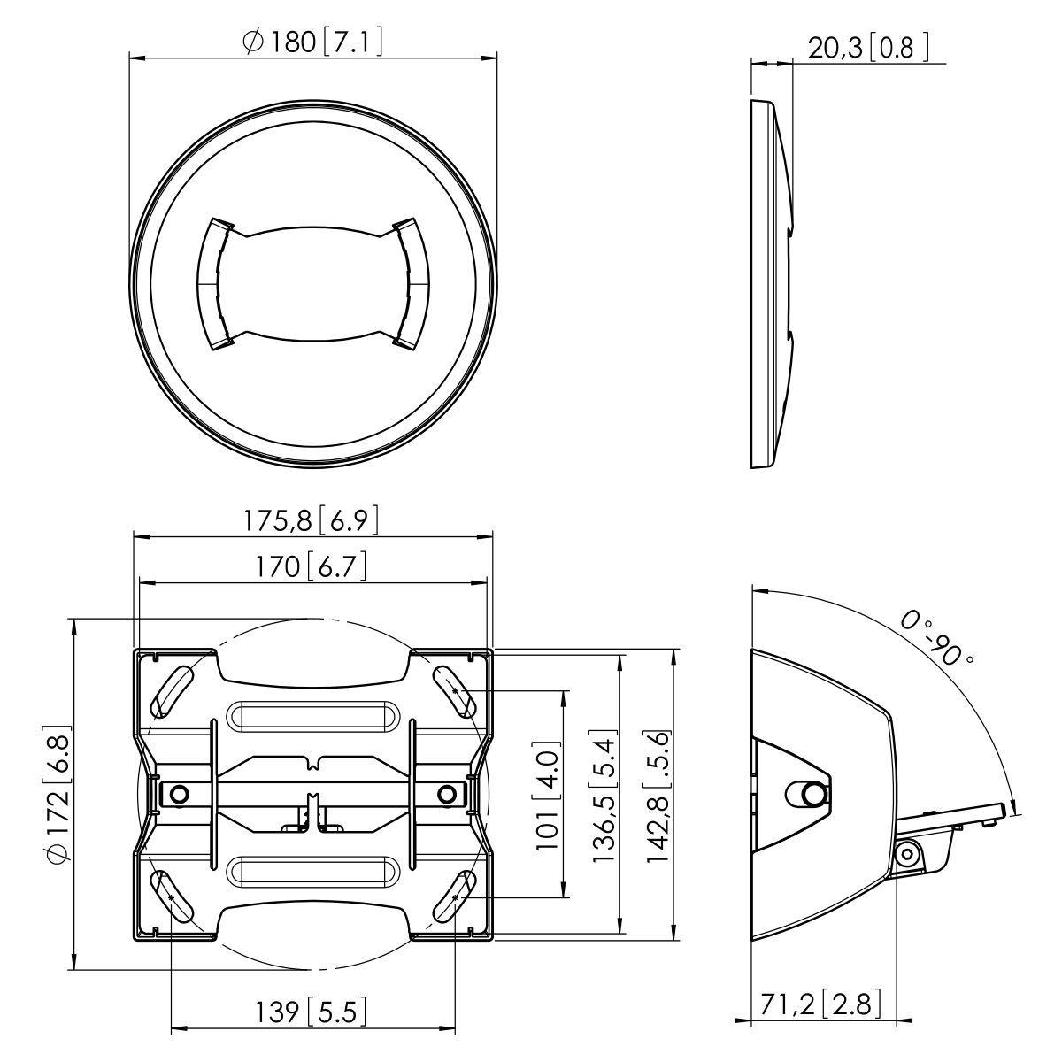 Vogel's PUC 1070 Ceiling plate tilt - Dimensions