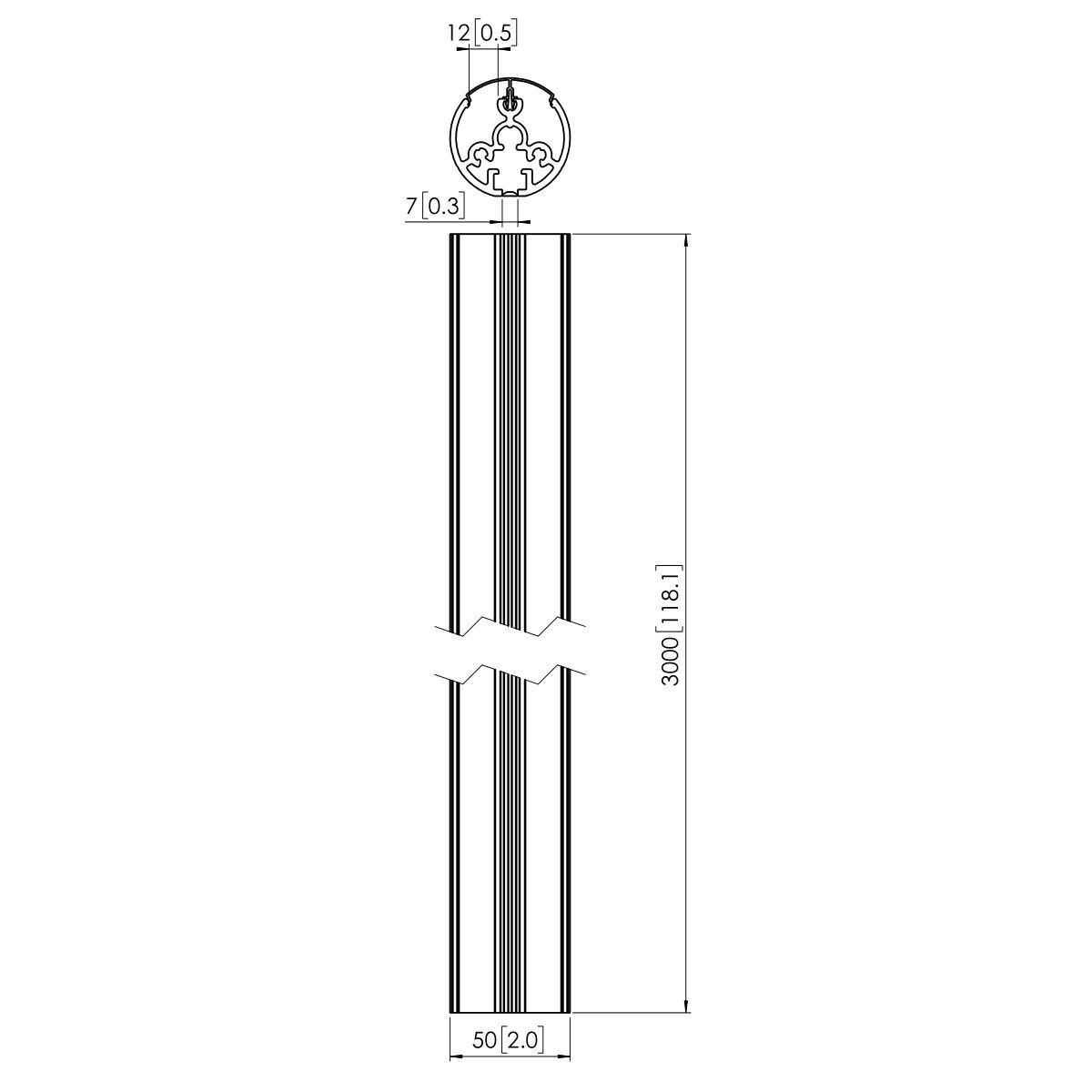 Vogel's PUC 2130 Pole 300 cm - Dimensions