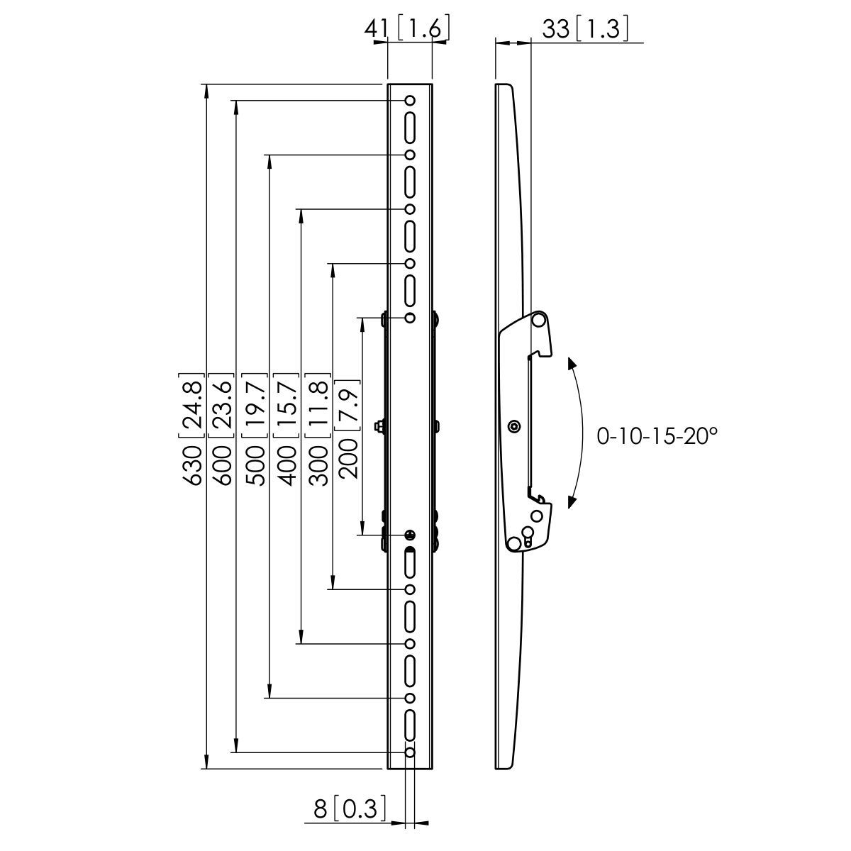 Vogel's PFS 3306 Display interface strips tilt - Dimensions