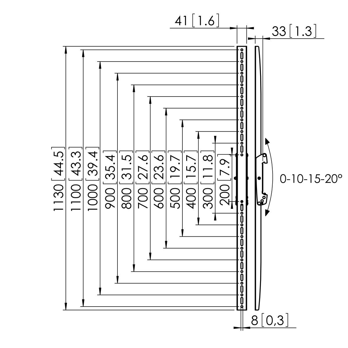 Vogel's PFS 3311 Display interface strips tilt - Dimensions