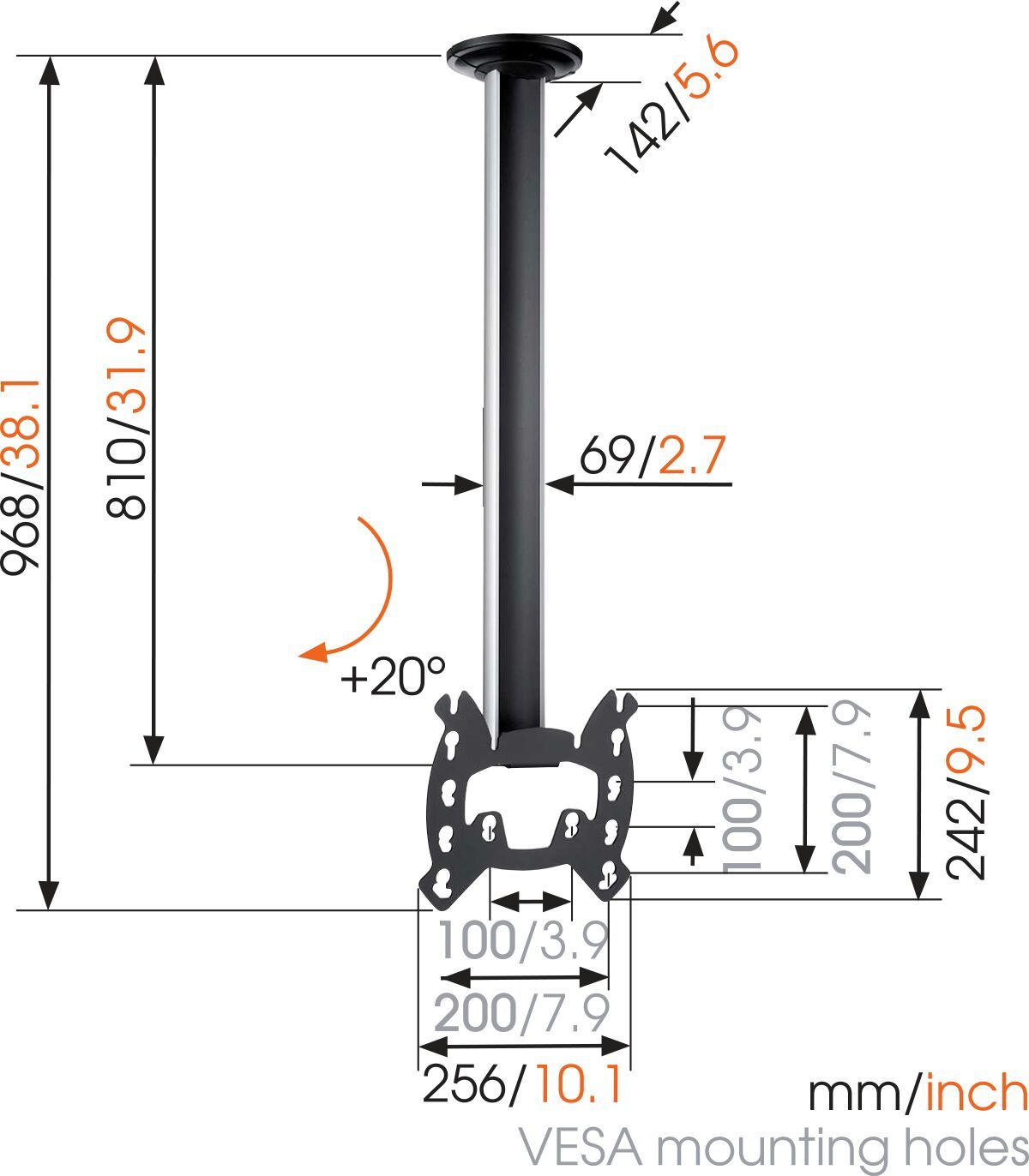 Vogel's EFC 6215 TV Ceiling Mount - Dimensions