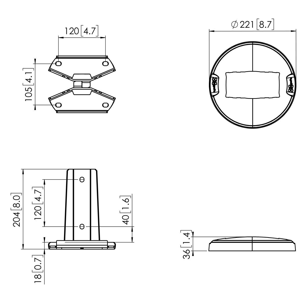 Vogel's PFF 7960 Floor mounting plate - Dimensions