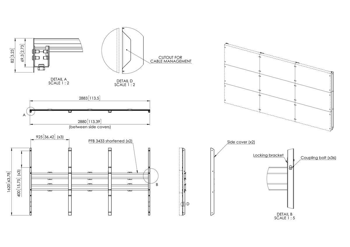 Vogel's INT8201 interface mur à LED pour LG 130 pouces All-in-one (série LAAF) - Dimensions