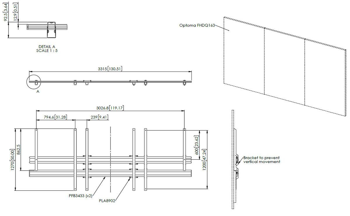 Vogel's INT8302 LED wall interface for Optoma Quad 163 inch - Dimensions