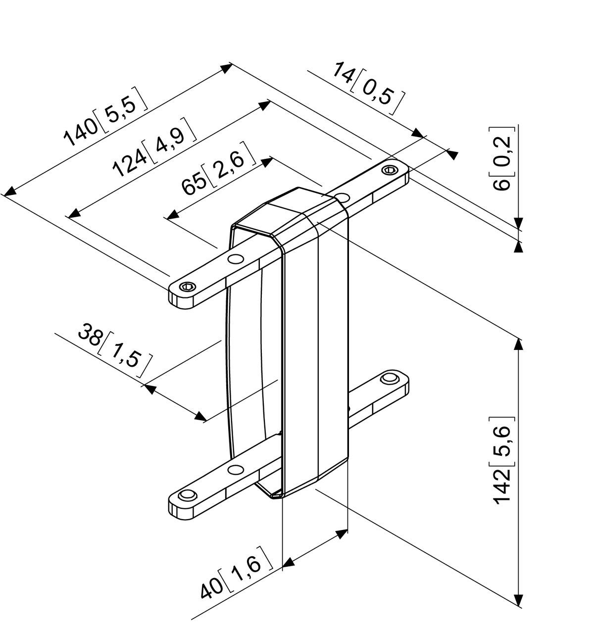 Vogel's PFA 9104 Bar coupler for PFB 34xx - Dimensions