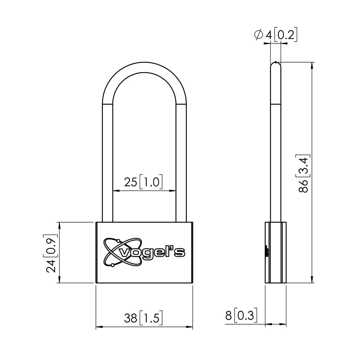 Vogel's PFA 9109 Padlock for PFS - Dimensions