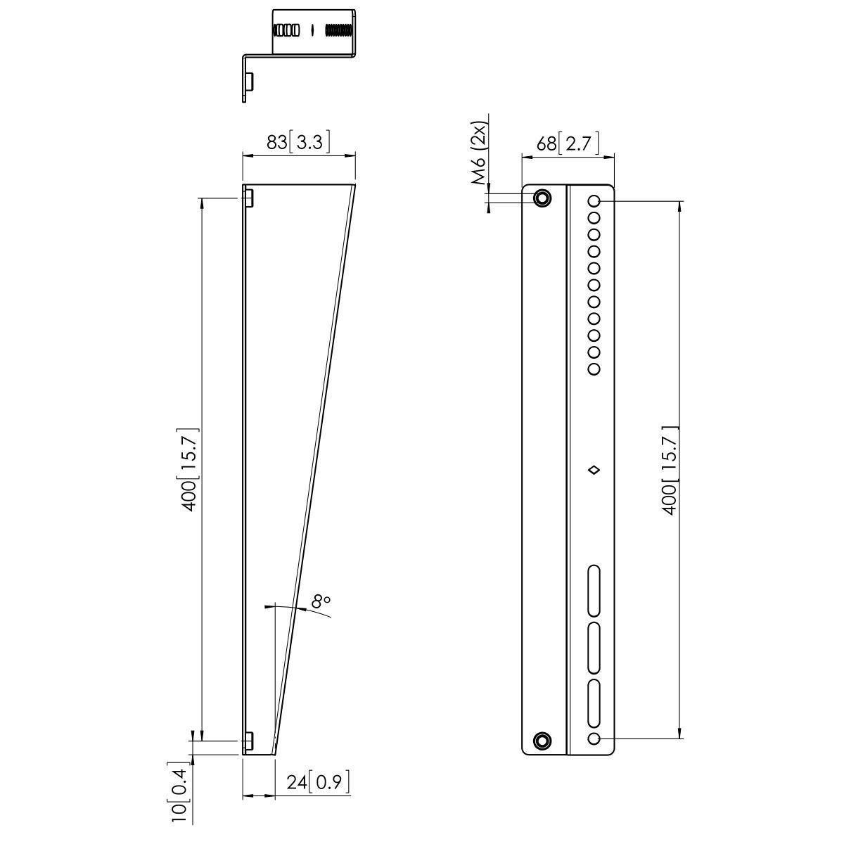 Vogel's PFA 9122 Z-Bracket for PFS 3504 - Dimensions