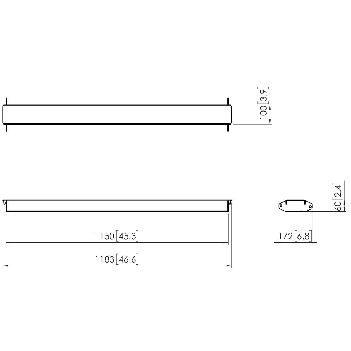 Vogel's PFA 9129 Video wall cross bar 1150 mm - Dimensions