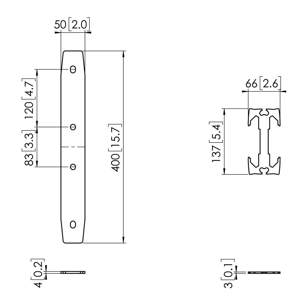 Vogel's PFA 9131 Profilverbinder für PUC 29 - Dimensions