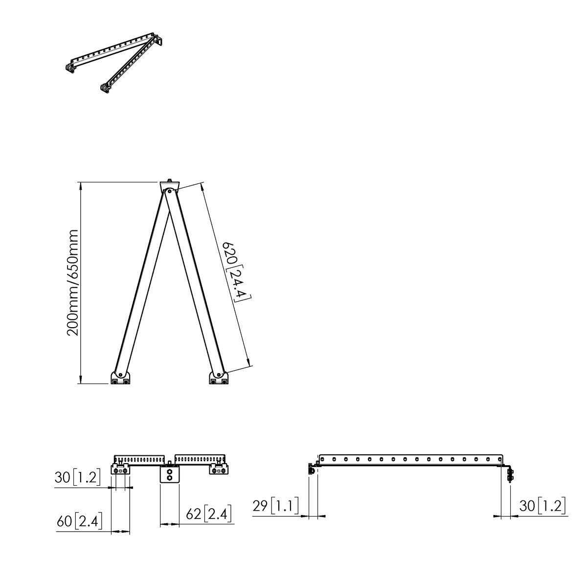 Vogel's PFA 9141 Wall support sliding bracket basic kit long - Dimensions