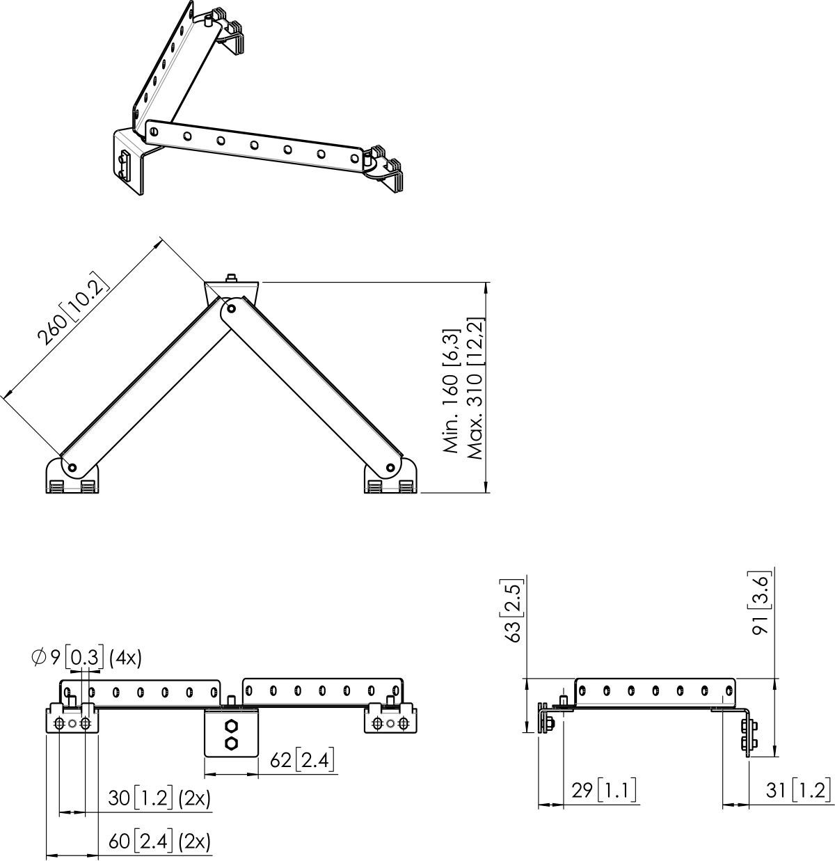 Vogel's PFA 9144 Wall support sliding bracket basic kit short - Dimensions