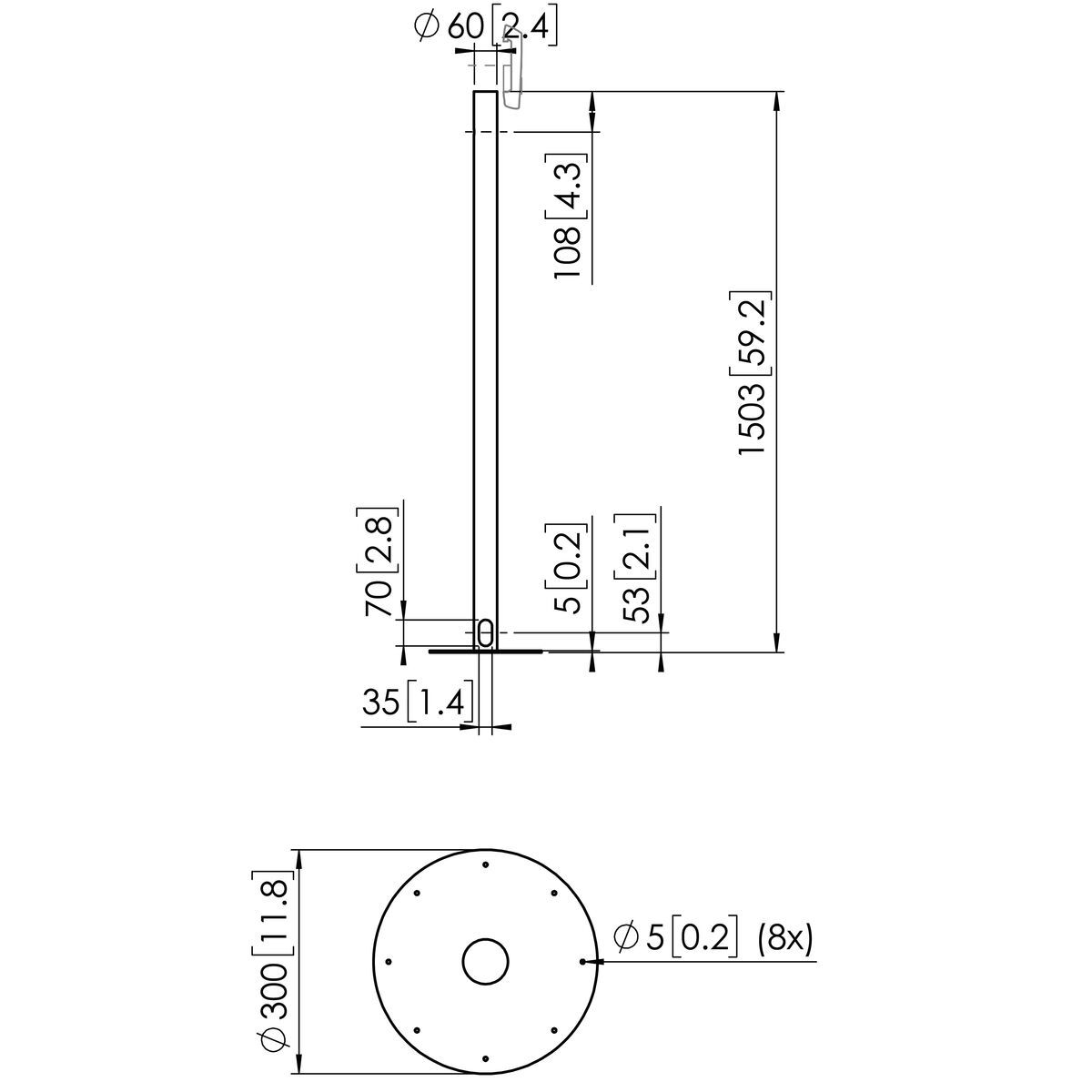 Vogel's PFA 9155 Display floor mounting stand - Dimensions