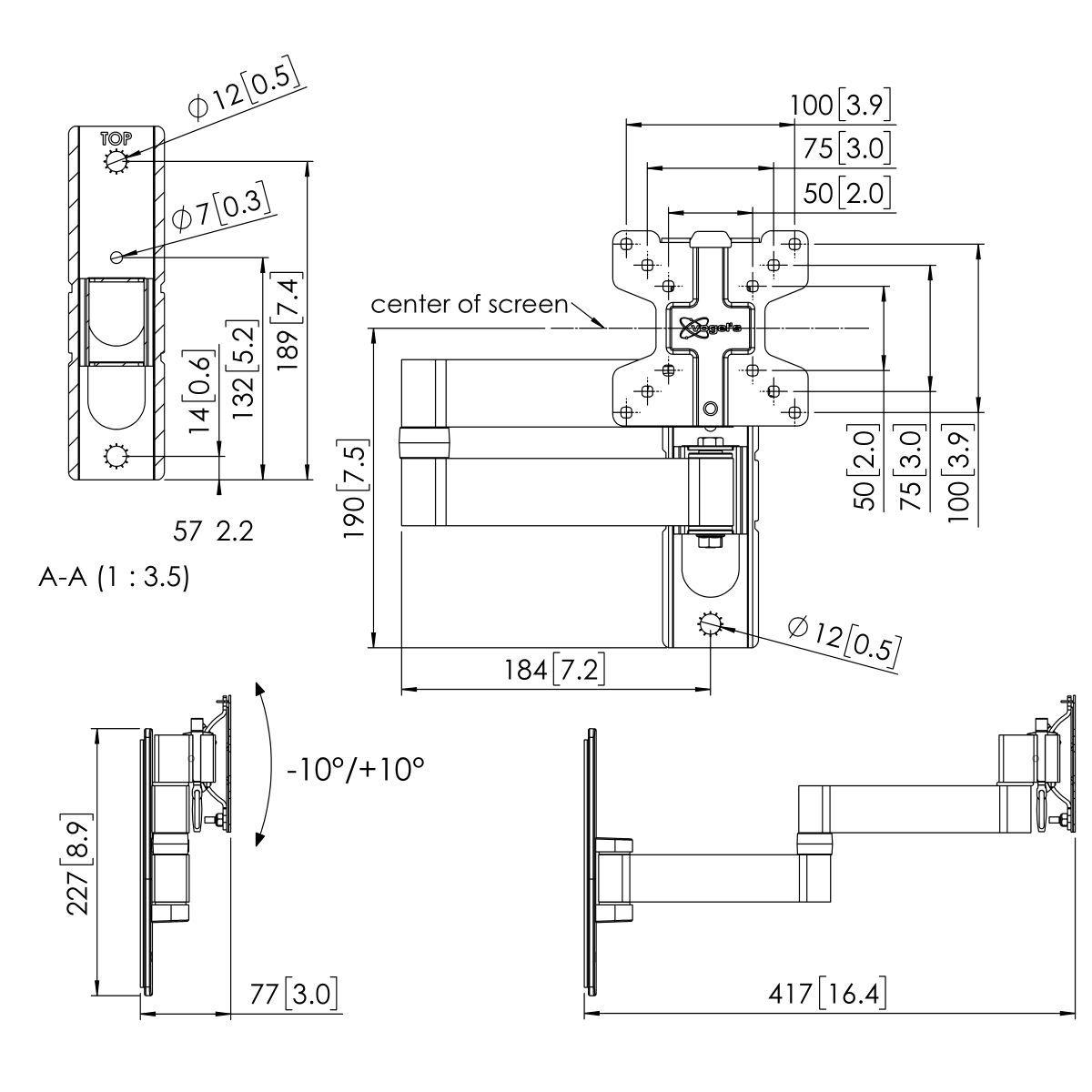 Vogel's PFW 1040 Uchwyt ścienny obrotowy - Dimensions