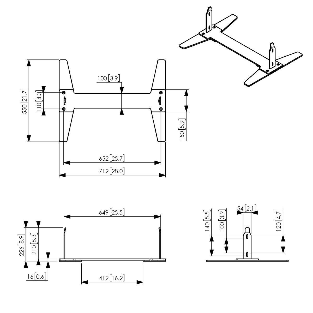 Vogel's PFF 2046 Floor plate for Samsung OM46N-D - Dimensions