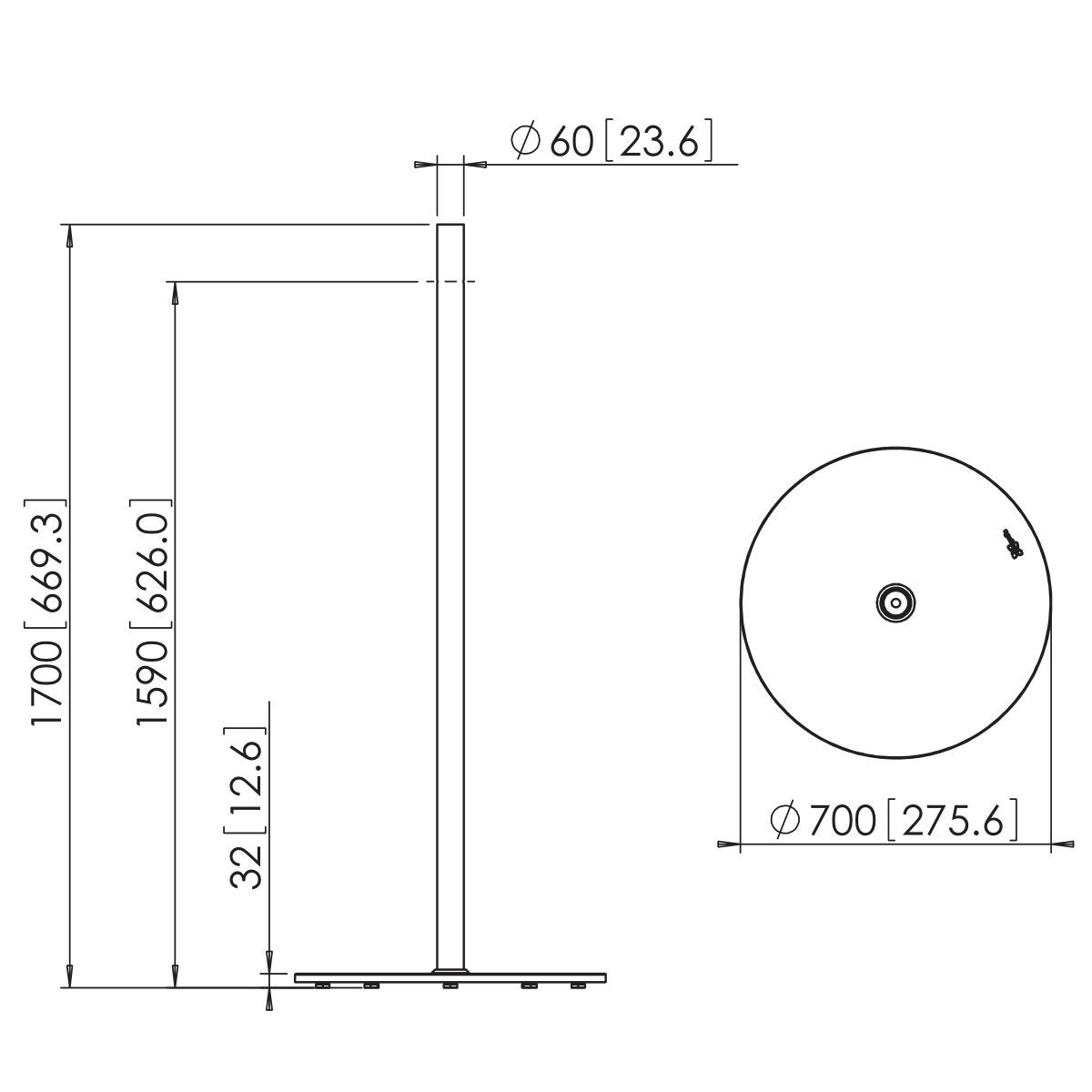 Vogel's PFF 1570 Display floor stand - Dimensions
