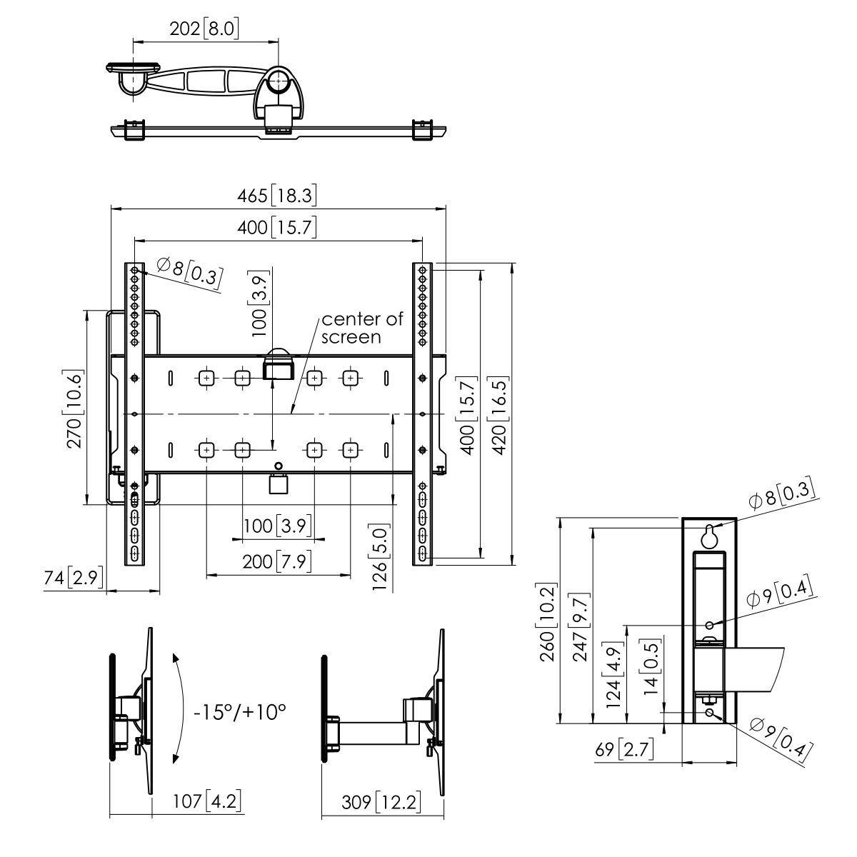 Vogel's PFW 3030 Uchwyt ścienny obrotowy - Dimensions