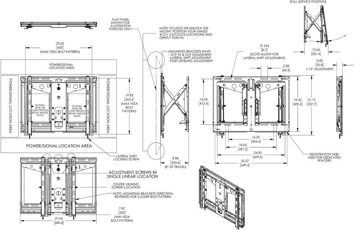 Vogel's PFW 6880 Module mural écran vidéo - Dimensions
