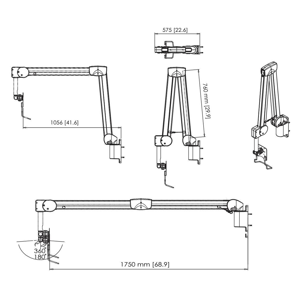 Vogel's PMW 7038 Medical wall mount - Dimensions