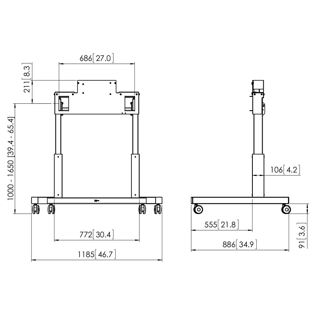 Vogel's PFTE 7112 Trolley motorizzato - Dimensions