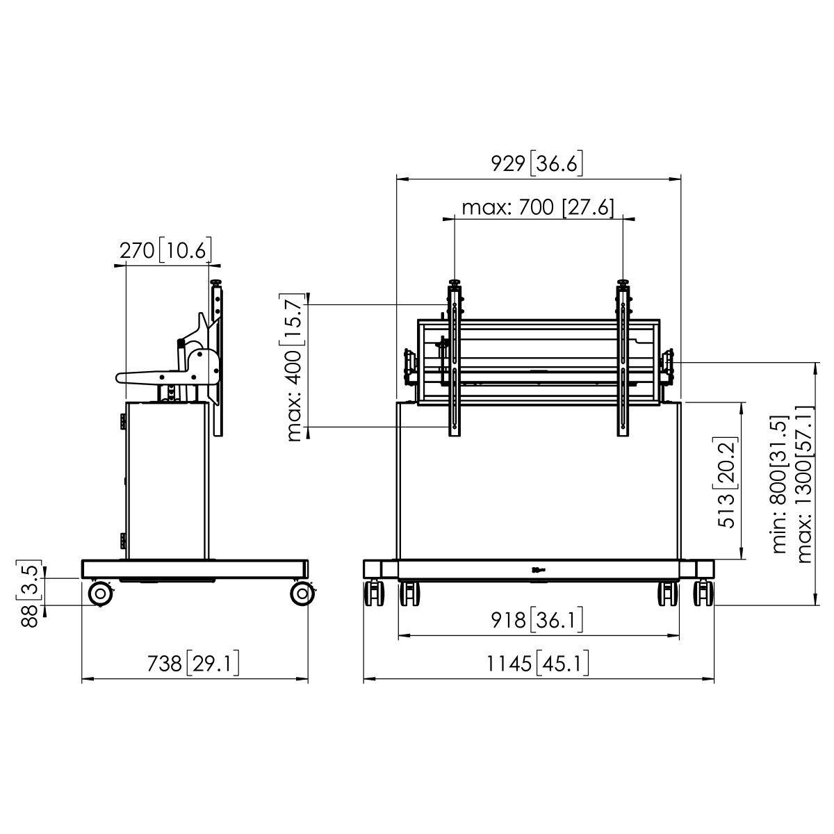 Vogel's PFTE 7121 Touchtisch motorisiert mit Schrank - Dimensions