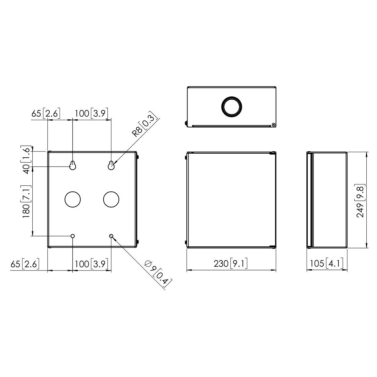 Vogel's PMA 7901 Medical wall box - Dimensions