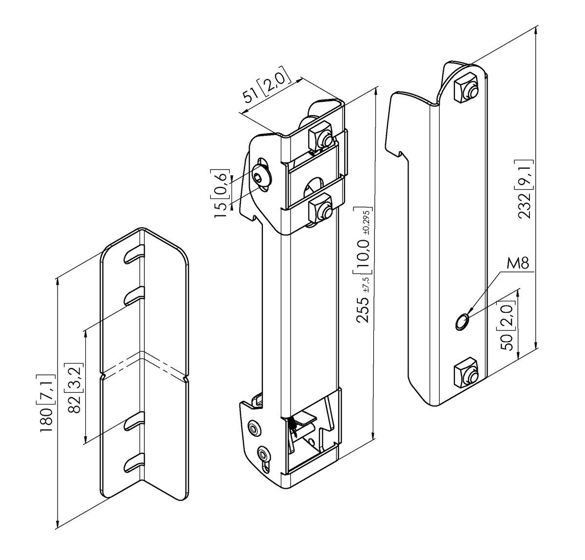 Vogel's PLS 8001 Vertical profile mounting strips - Dimensions