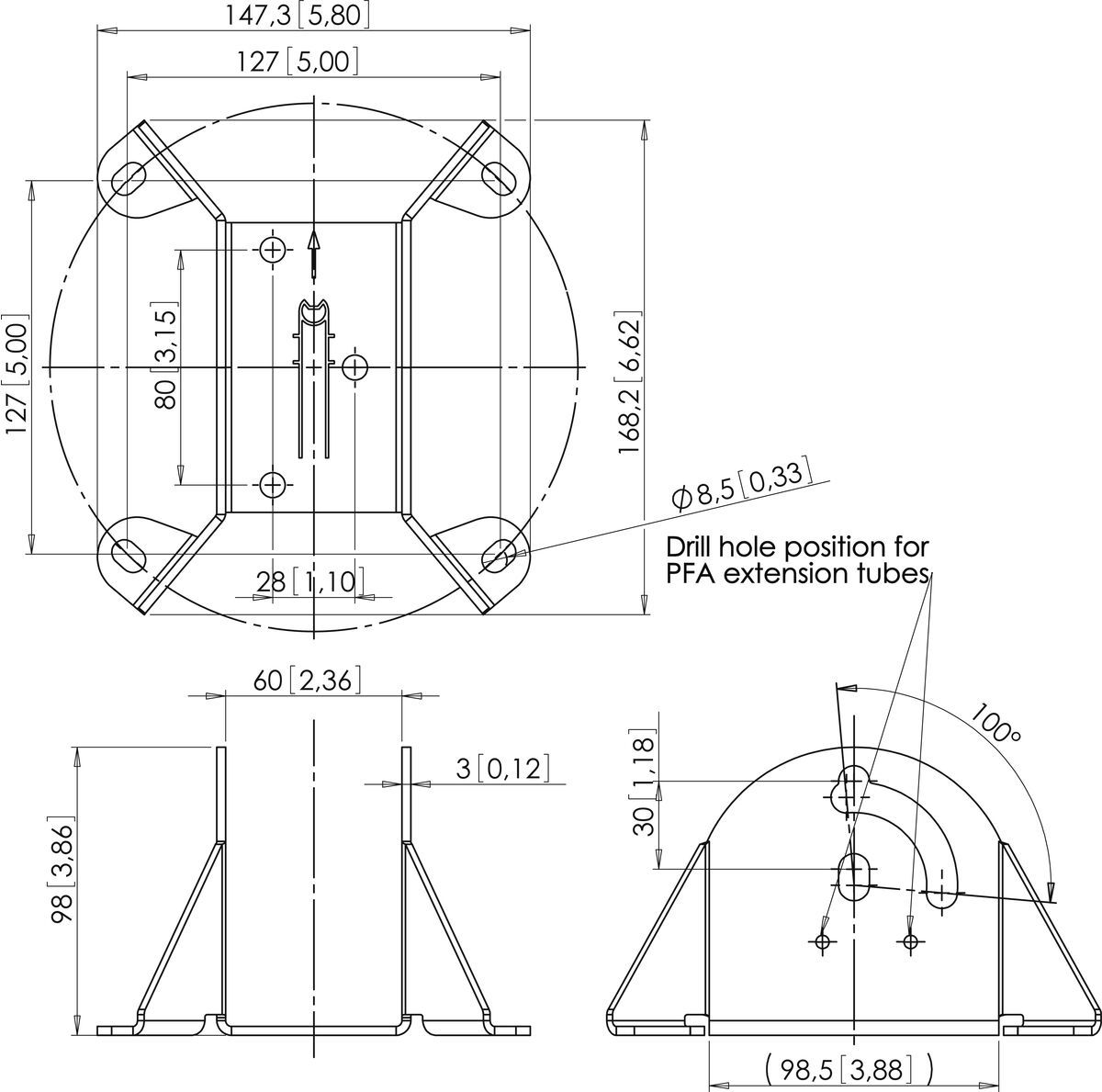 Vogel's PFA 9010 Plafondplaat - Dimensions