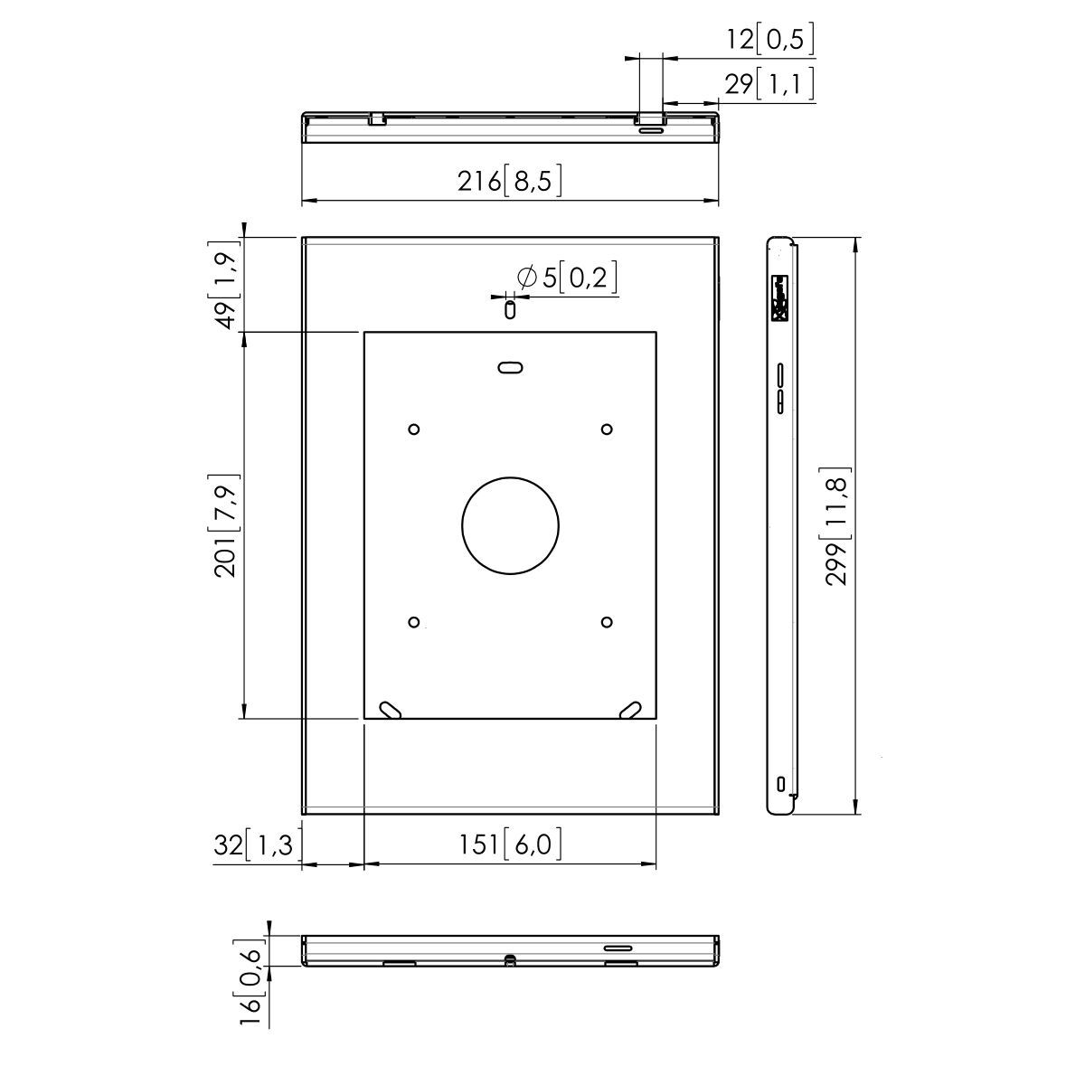 Vogel's PTS 1206 Tabletbehuizing iPad 2/3/4 - Dimensions