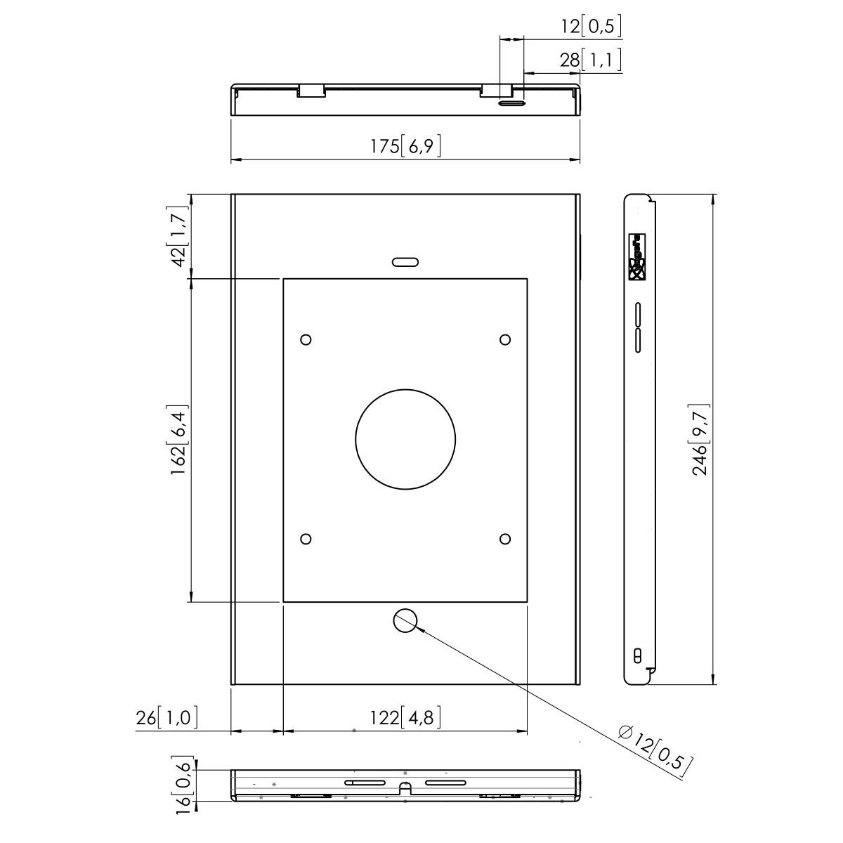 Vogel's PTS 1215 TabLock für iPad mini 1 / 2 / 3 HTZ - Dimensions