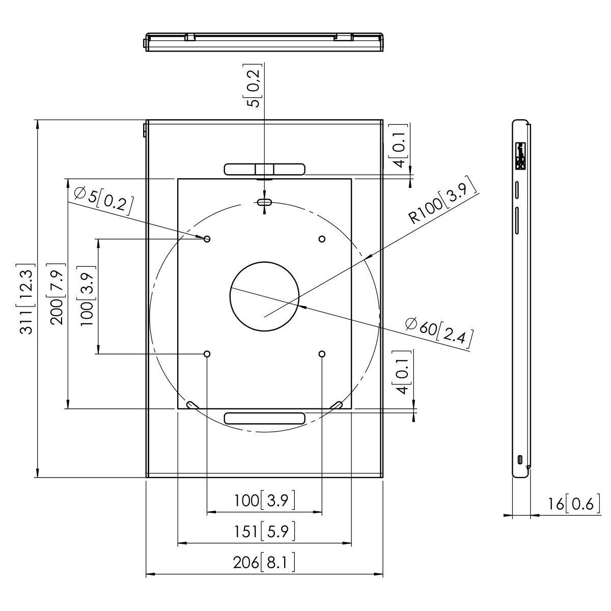 Vogel's PTS 1220 Tabletbehuizing voor Galaxy Tab S3 - Dimensions