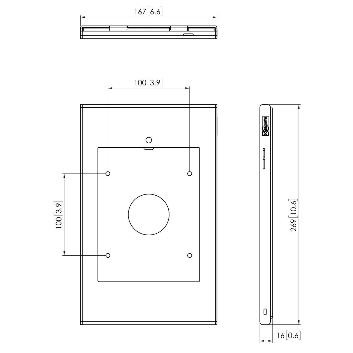 Vogel's PTS 1226 TabLock per iPad mini (2019) - Dimensions