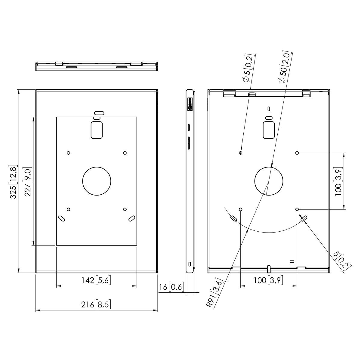 Vogel's PTS 1231 TabLock pour Samsung Galaxy Tab A 10.5 (2018) - Dimensions