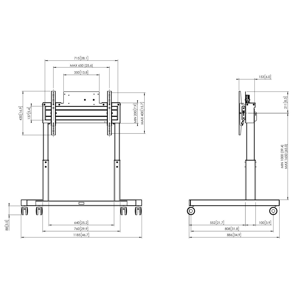 Vogel's TE1264 Motorized trolley - Dimensions