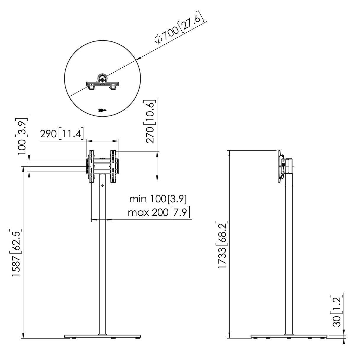 Vogel's F1622RVS Pied de sol - Dimensions