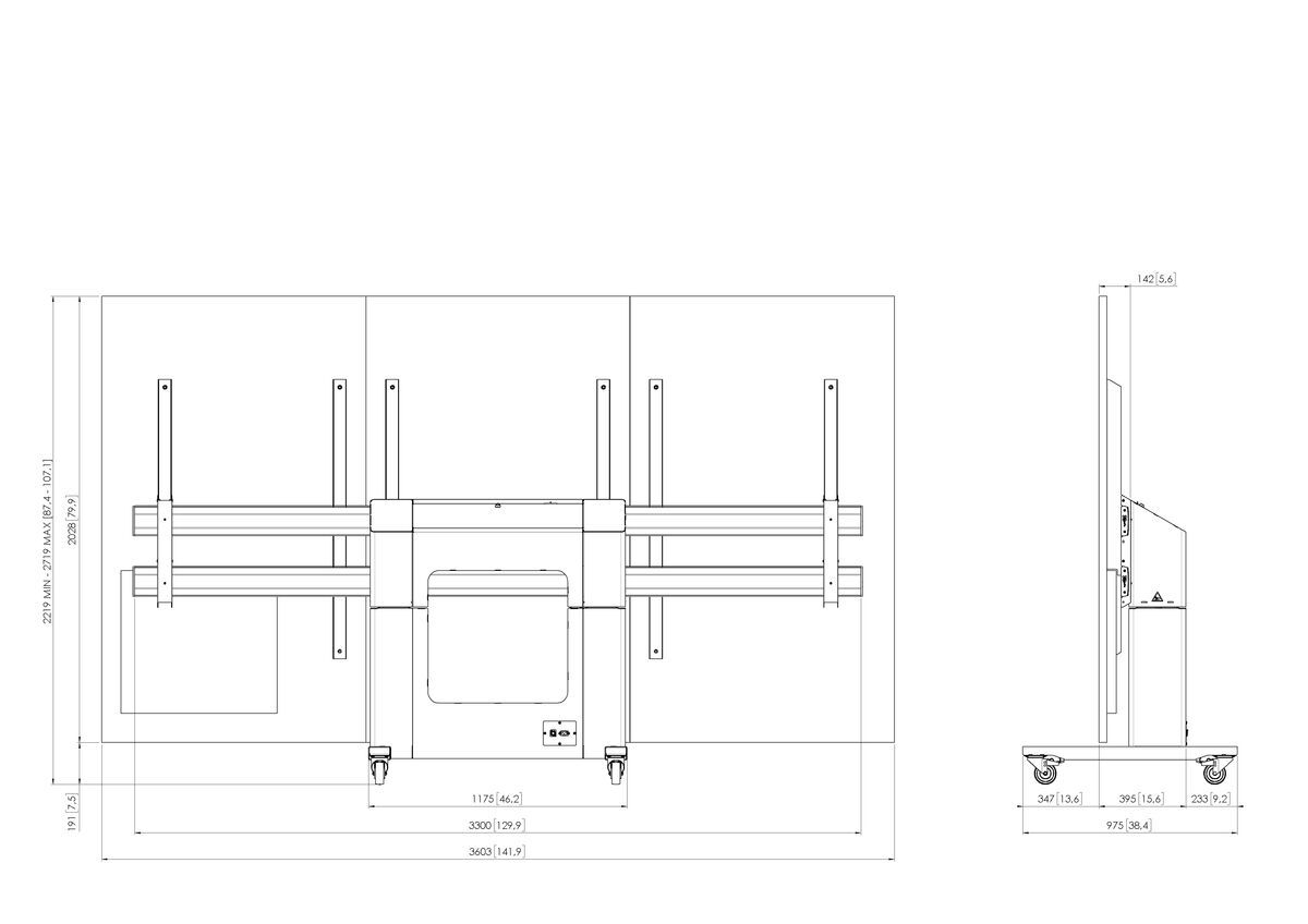 Vogel's TLWE78302 моторизованная тележка для светодиодной стены из дисплеев Optoma Quad 163 дюймов - Dimensions