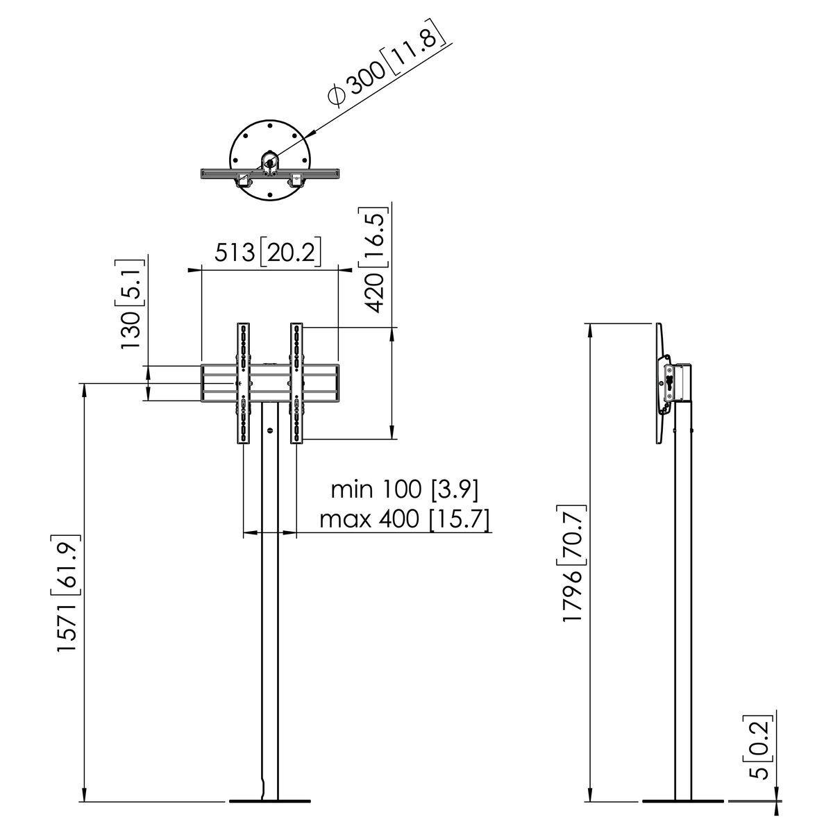 Vogel's FM1644RVS Pied de sol pour écran - Dimensions