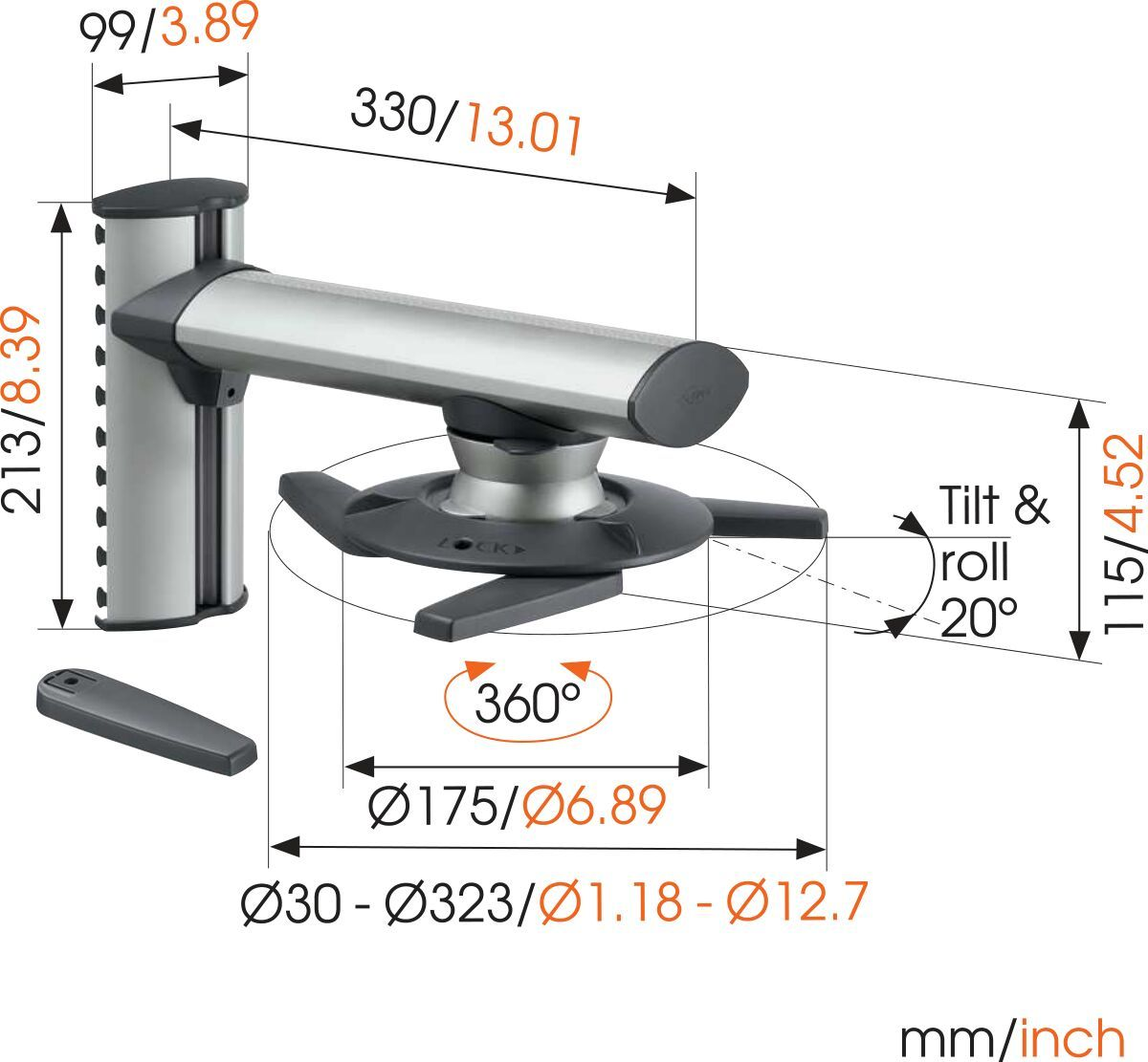 Vogel's EPW 6565 Projector Wall Mount - Charge maximale : 10 - Charge maximale : Dimensions