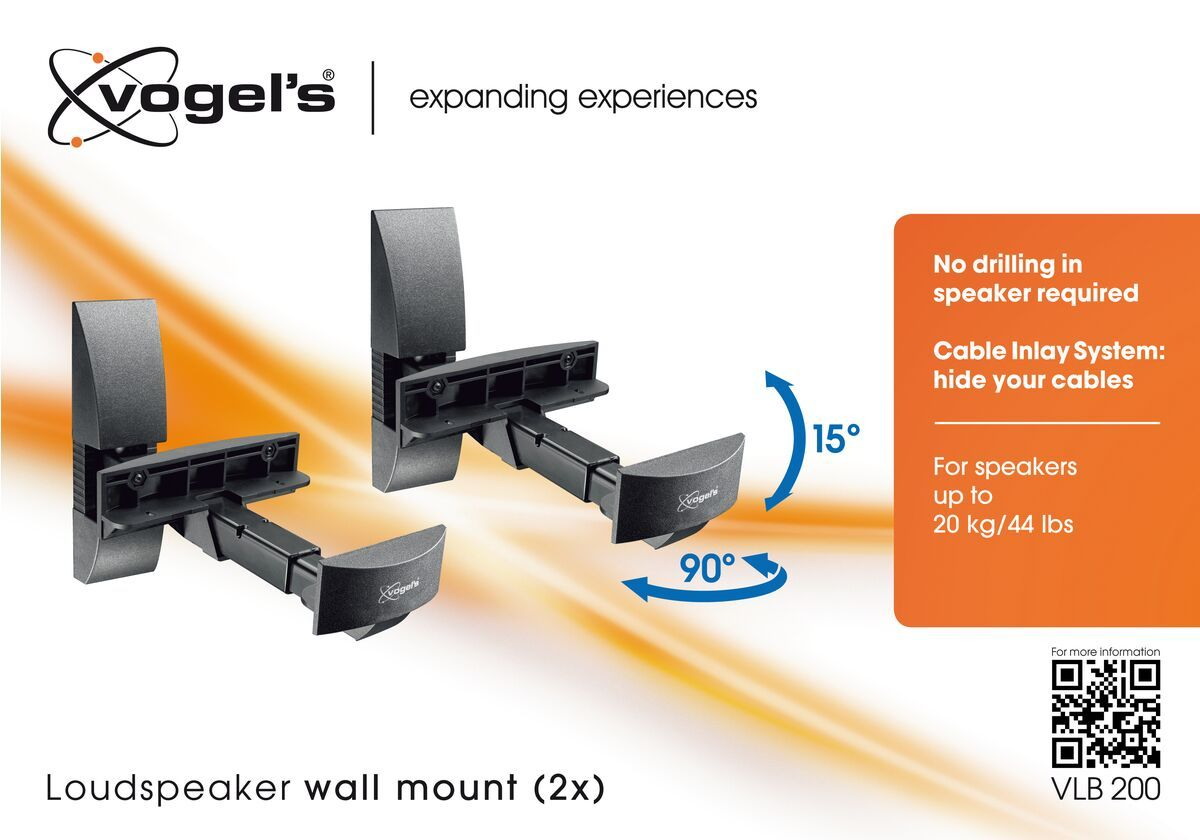 Vogel's VLB 200 Soporte de pared para altavoces (2x) - Para altavoces de hasta 20 kg - Packaging front