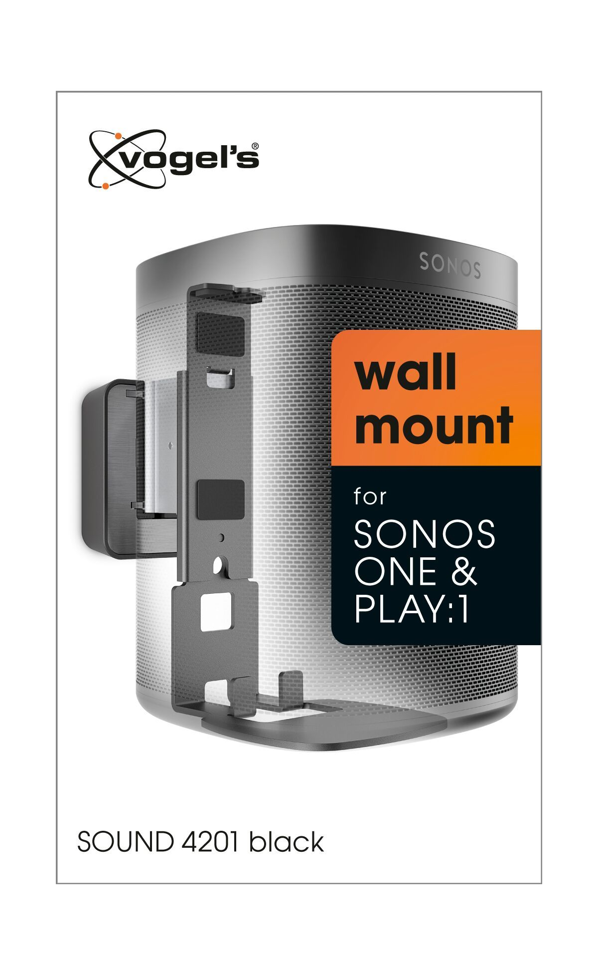 Vogel's SOUND 4201 Speaker Wall Mount for Sonos One (SL) & Play:1 (black) - Packaging front