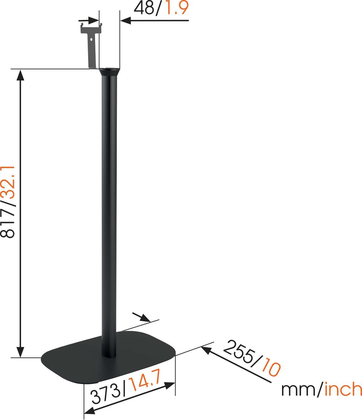 Vogel's SOUND 4303 Speaker Stand for SONOS PLAY:3 (black) - Dimensions
